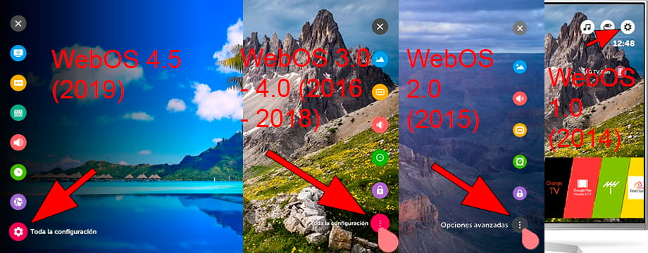 LG Web OS settings