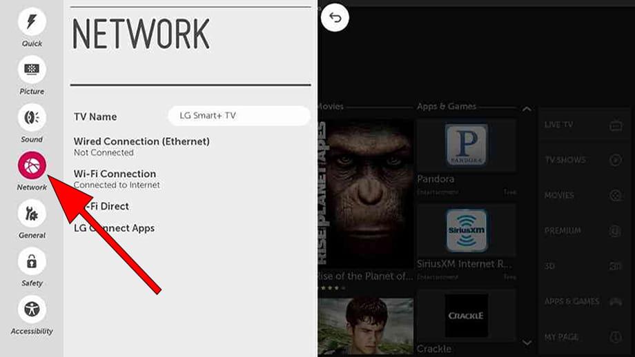Network settings WebOS