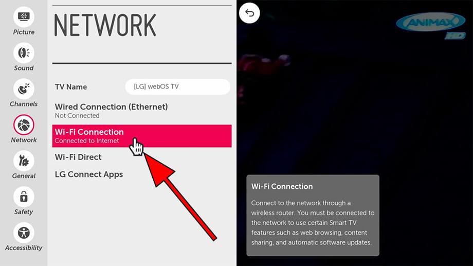 Wi-Fi settings WebOS