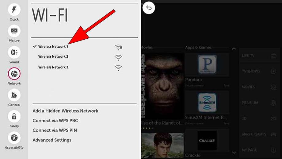 Select Wi-Fi WebOS