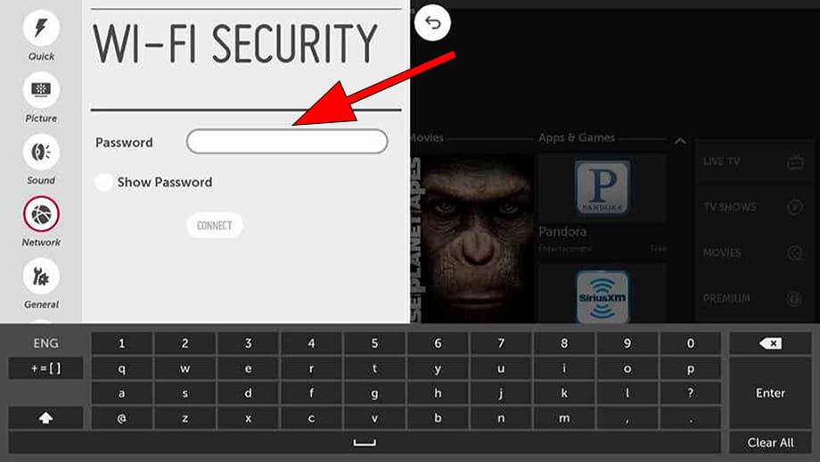 Wi-Fi password WebOS